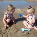 Braelyn & Lillie loving the beach